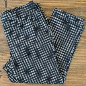 Talbots Black and White Print Cuffed Capri Pants